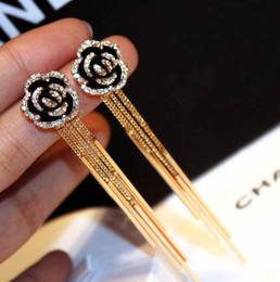 Wholesale Popular Metal Pendant - hot sale fashion jewelry designer popular stylish woman lady diamond Camellia flower long metal tassel pendant dangle chandelier earring