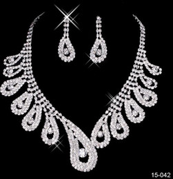Wholesale Cheap Indian Wedding Jewelry - 2017 cheap Chic Beach Boho Bridal Jewelry Wedding Bridal Rhinestone Accessories Necklace and Earring Ear Stud Style Sets Silver Plated New