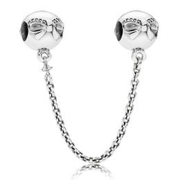 Wholesale Dainty Bracelets - Authentic 925 Sterling Silver Thread Bead Charm Dainty Bow Safety Chain Beads Fit Women Pandora Bracelet Bangle Diy Jewelry HK3657