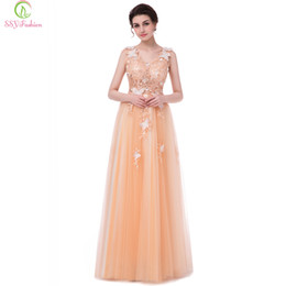 Wholesale Sexy Sleeveless Shirts - SSYFashion New Luxury Champange Lace Evening Dress Bride Banquet V-neck Sleeveless Appliques with Beading Long Prom Party Gowns