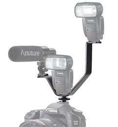 Wholesale Triple Flash - Wholesale-Universal 164mm V Shape Triple Mount Hot Shoe Flash Bracket Stand for Microphone LED Light DSLR