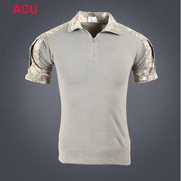 Camisa multi camo online-Camisas de combate de manga corta Camisas de rana de camuflaje Camisas de combate Combate Camo Camisas de combate de caza al aire libre Envío gratis a América