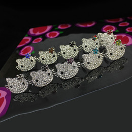 Wholesale Korean Cheap Jewelry Wholesaler - High quality crystal cute hello kitty cat wedding party rings for women different colors crystal flower sweet Korean fashion cheap jewelry
