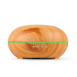 Wholesale ultrasonic aroma diffuser - 300ml Wood Grain LED Lights Essential Oil Ultrasonic Air Humidifier Electric Aroma Diffuser for Office Home Bedroom Living Room Yoga Spa