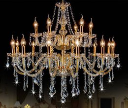 Wholesale Study Free Shipping - Free Shipping AC110V 220V Noble Luxurious Export K9 Clear Crystal Chandelier 6 8 10 12 15 18 Arms Export Class A K9 Crystal