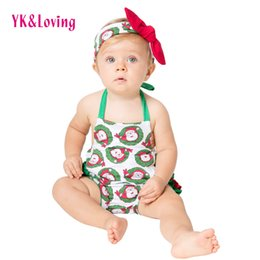 Wholesale Baby Girl Dots Jumpsuit - 2017 Christmas Jumpsuit Newborn Baby Girls Cotton Romper Ruffled Jumpsuit Headband 2PCS Baby Girl Clothing Overalls Onesies Outfits Sunsuit