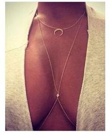 GEMIN 2 piezas (1 pieza como regalo) Bikini Luna Diamante Cristalino Crossover Arnés Cintura Cuerpo de vientre Collar de cadena desde fabricantes