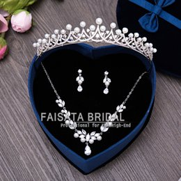Wholesale Wedding Comb Hair Chains - Luxury Plated Silver Crystal Teardrop Gorgeous Bridal Tiara Combs Wedding Hair Accessories Necklace Earring Three-piece Bridal Jewelry Sets
