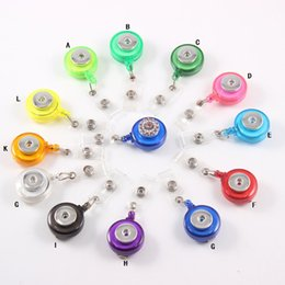 Wholesale Name Card Holders - Retractable Ski Pass ID Card Badge Holder Reel Pull Key Name Tag Recoil Reel Fit 18MM Snap Button Jewelry For School Hospital