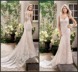 Wholesale Simple Square Open Back - 2017 Open Back Sexy Wedding Gown Lace Bridal Gown Cheap Sleeveless Backless Count Trian Customize Formal Wear Free Shipping Sheath Style