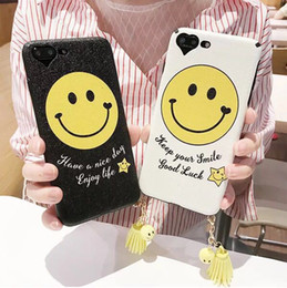 Wholesale Iphone Silicon Case Frosted - Fashion Simple Smile Face Phone Cases for Iphone 6 6S  7 7Plus Stars Tassel Pendant frosted Silicon Back Cover Fundas
