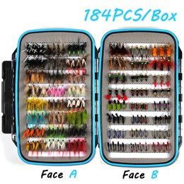 Wholesale Trout Flies Wholesalers - Promo 184Pcs Wet Dry Nymph Fly Fishing Lure Box Set Fly Tying Material Bait Fake Flies For Trout Grayling Panfish Fishing Tackle