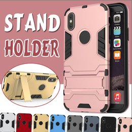 Wholesale Silicone Iron Cover - 2 in 1 Case Kickstand Iron Man Hybrid Stand Holder Anti-Shock Rugged Hard Slim Armor Cover For iPhone X 8 7 plus Samsung S8 S7 edge Note 8