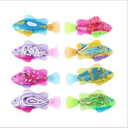 Wholesale Cartoon Baby Swim - LED fish Baby Robofish Bath Toy kids cartoon LED Glowing Swimming toys children Shower toys