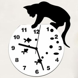 watches cat designs Coupons - Wholesale-JY 19 Mosunx Business 2016 Hot Selling Naughty Cat Acrylic Clock Wall Clock Modern Design Home Decor Watch Wall Sticker