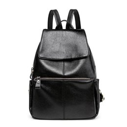 Wholesale Trend Travel School Bag - Fashion trend women PU leather travel backpack high quality school student teenager girl all-match casual black traveling bag from factory