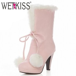 Wholesale White Fur High Heel Boots - Wholesale-Big size 34-43 Sweet Fur Ball Top knot Warm White fur Boots High Heels snow boots for women platform short boots Winter Shoes