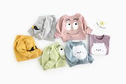 Desenhos animados do bigode on-line-INS NEW CHEGADA meninos menina 100% algodão Manga Longa dos desenhos animados urso bigode impressão olho hoodies criança vestir pulôver outerwear bebê crianças hoodies