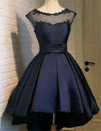 Wholesale High Low Corset Prom Dress - Dark Navy Satin High Low Sheer Prom Dresses 2017 Real Images Sexy Draped Lace Applique Corset Short Homecoming Dress