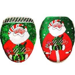 Wholesale Toilet Seat Covers Lids - Wholesale-New Year Best Gift Happy Christmas Santa Toilet Seat Cover Toilet lid Bathroom Set Xmas Christmas Decorations AU400