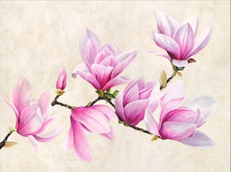 Wholesale Magnolia Wall - Framed luca mansion branch of magnolia,Pure Handpainted Art Oil Painting On Quality Canvas Wall Decor Multi Sizes Free Shipping Fl002