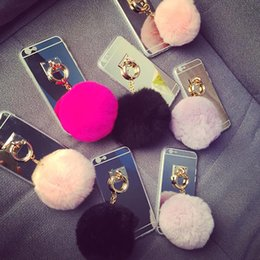Wholesale Iphone Case Rabbit Mirror - Luxury Fashion Cell Phone Cases Rabbit Fluffy Fur Ball Tassel Electroplating Mirror Phone case For iphone 5S 6 7 6plus 7plus TPU Case