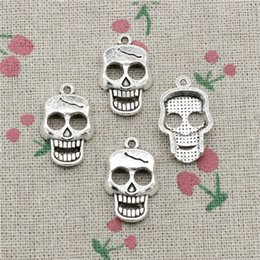 Wholesale Skull Hand Pendant - 45pcs Charms skeleton skull 23*12mm Antique Silver Pendant Zinc Alloy Jewelry DIY Hand Made Bracelet Necklace Fitting