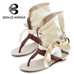 Wholesale M Chic - Wholesale-Big Size 34-43 Fashion Women Gladiator T straps Flat Heel Sandals Summer Shoes 2015 Brand New Casual Dress Chic Sandals SA125