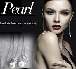 Wholesale Earring Allergy - Long set auger tremella accessories tassel earrings Temperament allergy pearl eardrop of zircon