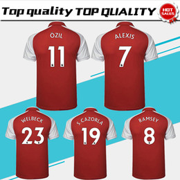 Wholesale 2018 ALEXIS home red Soccer Jersey RAMSEY short sleeve soccer shirt OZIL S CAZORLA WELBECK Football uniforms sales S XXXL