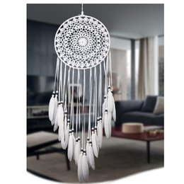 Wholesale Craft Flock - Handmade Lace Dream Catcher Circular With Feathers Hanging Decoration Ornament Craft Gift Crocheted White Dreamcatcher Wind Chimes