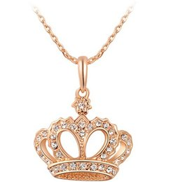 Wholesale Women Nickel Free Necklaces - New Arrival Luxury Queen Crown Necklace Gold And Silver Color Pendant Necklace Nickel Free Elegant Women Jewelry