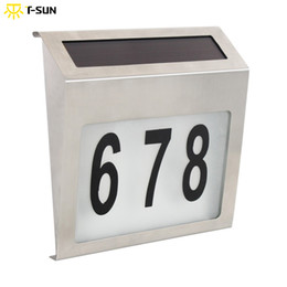 Wholesale Led House Number Lights - Wholesale- T-SUNRISE ABS Solar Powered Led Light LED Bulbs Illumination Doorplate Lamp Outdoor House Number Solar Apartment Number