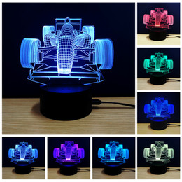 Wholesale Lamp F1 - usb led night light 3d lights touch control 7 colors acrylic lamp 3D moto F1 car plane animal horse football tower christmas tree gift