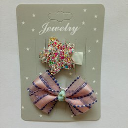 Wholesale Girls Small Hair Bows - Small Girls Solid Ribbon Hair Bows With Clip Boutique Hair Clip Hairpin Baby Hair Accessories Kids Hairpin
