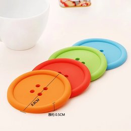 Wholesale Modern Table Home - Wholesale- 5pcs Plastic Cup Pads - Pure Colored circular Button Coaster - Insulation Mug mat holder Home Table Decor Coffee Drink Placemat