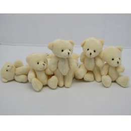 Wholesale Small Bear Gifts - Wholesale-60PCS LOT Kawaii Small Joint Teddy Bears Stuffed Plush 12CM Toy Teddy-Bear Mini Bear Ted Bears Plush Toys Wedding Gifts 020
