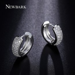Wholesale pave hoops - NEWBARK Classical Vintage Round Hoop Earring Newest Style Micro Paved AAA Zircon Earrings Silver Color Luxury Jewelry Brinco q170720