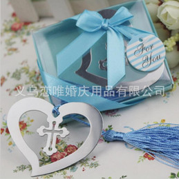 Wholesale Metal Bookmarks Cross - Heart-shaped Cross Metal Bookmark with Blue Tassel Design Bookmark Exquisite Wedding Baby Shower Party Favors Gifts