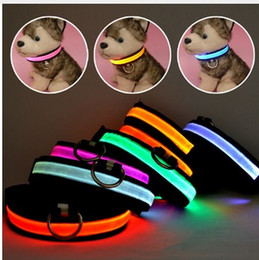 Wholesale Glowing Cat Collars - LED Nylon Pet Dog Collar Night Safety Glow Flashing Dog Cat Collar Led Luminous Small Dogs Collars USB Rechargeable 10pcs
