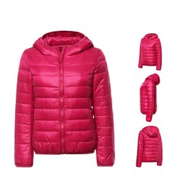 Wholesale Slim Thin Down Jacket - Women Ultra Light Down Jacket Hooded Winter Duck Down Jackets Women Slim Long Sleeve Parka Zipper Coats 2017 Pockets Solid