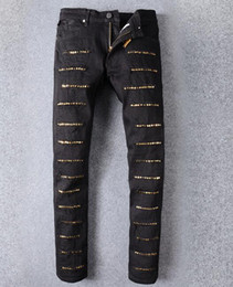Wholesale Golden Long - Senior designer brand 2017 bicycle robin jeans Manual paste crystal golden wings black robin jeans Men's fashion zipper pants