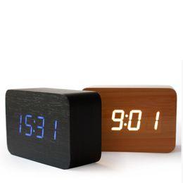 Wholesale Electronic Table Calendar - Wholesale-Bamboo&Wooden Digital LEDclock Calendar Thermometer Acoustic Control Sensing desktop vintage table electronic Clocks despertador