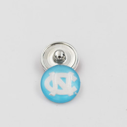 Wholesale Wholesale Collegiate Bracelets - Latest North Carolina NCAA Ginger Snap Button Jewelry 18mm Glass Collegiate Sport Team Snap Charms Fit DIY Snap Bracelet Necklace