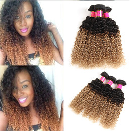 Wholesale curly virgin hair bundle deals - Ombre 1b 27 Brazilian Kinky Curly Hair Weft Brazilian Virgin Hair 3 Bundle Deals Ombre Deep Curly Human Hair Extensions