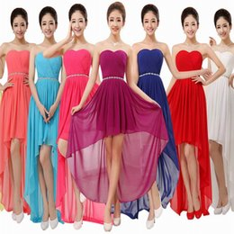 Wholesale Coral Dresses Wholesale - Bridesmaid Dresses Teal Turquoise Chiffon Sexy Deep V High Low Beaded With Belt Womens Long Evening Dresses Brat Irregular Maid Honor Gowns