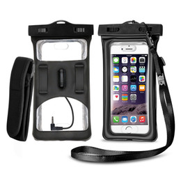 Wholesale Pocket Audio - Waterproof phone Case for iPhone 6 7 Plus Floatable Dry Bag With Armband lanyard Audio Jack snowproof pouch