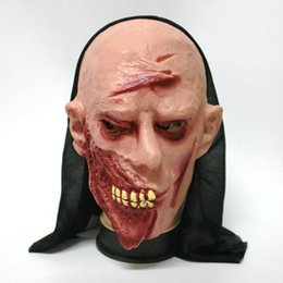 Wholesale Head Monk - Wholesale-Halloween Mask Tongue Ghost Flat Head Monk Green Needles Ghost Centipede Face Pullover Horror Mask Party Goods Cosplay Products