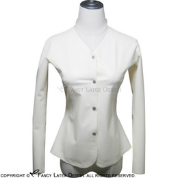 Wholesale Rubber Shirts - White Sexy Latex Shirt Buttons At Front Fetish Rubber Blouse Plus Size Female Hotsales Long Sleeves YF-0002