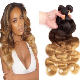Wholesale 22 Extentions Remy - Brazilian Body Wave Ombre virgin Hair 1B 4 27#Ombre Hair Extensions 100% unprocessed Remy Human Hair extentions 3bundles